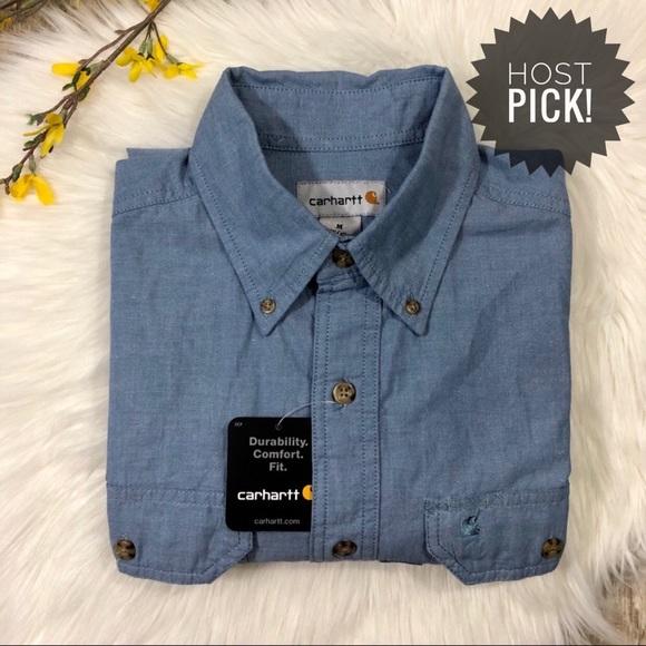 85e84a383fc Carhartt Shirts | Mens Short Sleeve Chambray Work Shirt | Poshmark